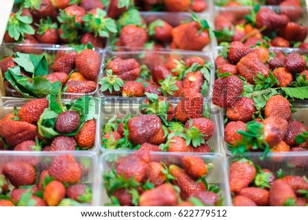 Bunch of fresh strawberry in plastic boxes in cool place in supermarket
