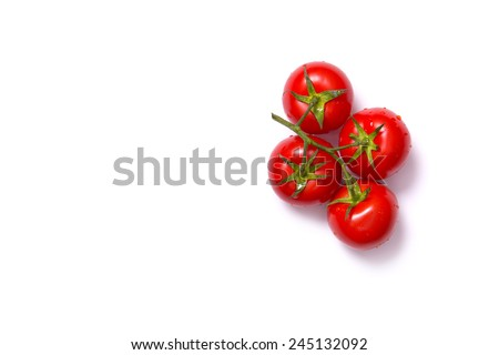Bunch of fresh tomatoes, top view isolated on white background  - stock photo