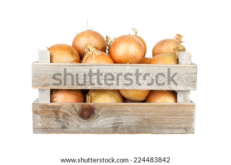 bunch of freshly harvested onions in a wooden crate - stock photo