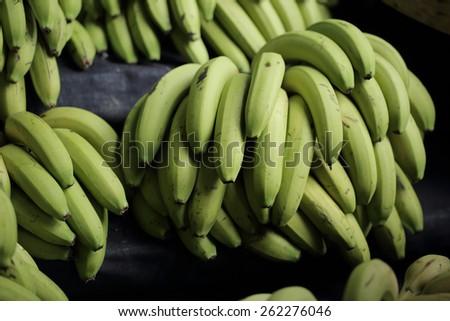 bunch of green bananas  - stock photo