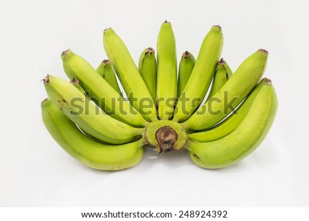 Bunch of green bananas isolated on white background. - stock photo
