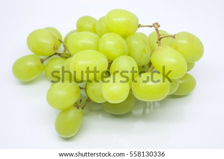 bunch of green grape isolated on white background