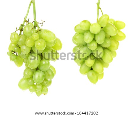 Bunch of green grapes. Isolated on a white background. - stock photo