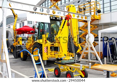 Bunch of heavy industry construction equipment tools - stock photo