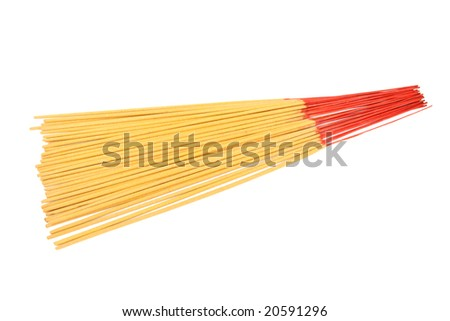 Bunch of incense sticks isolated on white background