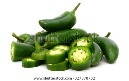bunch of jalapeno pepper isolated on white  - stock photo