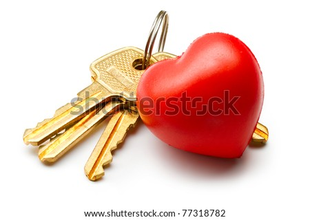 Bunch of keys and heart on the white background