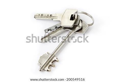Bunch of keys isolated - stock photo