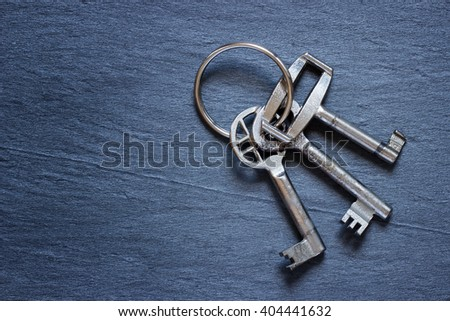 Bunch of keys on dark background