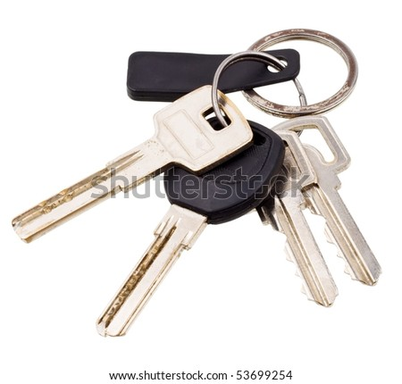 Bunch of keys with electronic key isolated on white background - stock photo