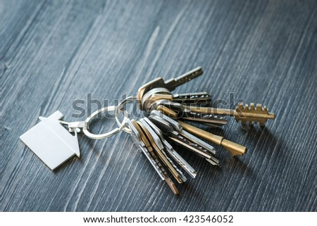 Bunch of keys with house shaped key ring on a rustic wooden table - stock photo