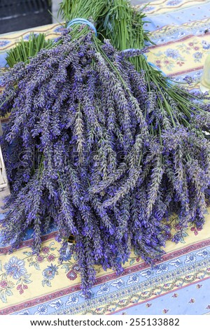 bunch of lavenders, market in Nyons, Rhone-Alpes, France - stock photo