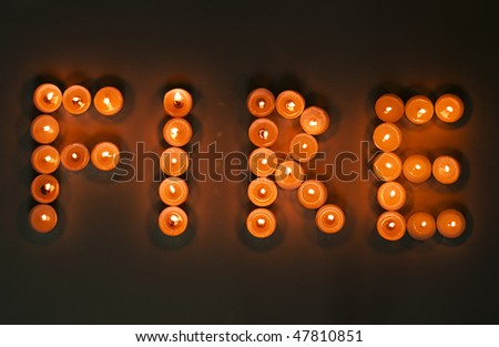 Bunch Lit Candles Spelling Word Light Stock Photo 47810836 ...