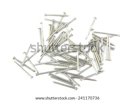 Bunch of metal nails on white background - stock photo
