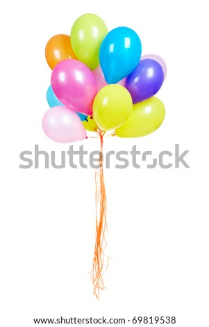 Bunch of multicolored balloons isolated on white - stock photo