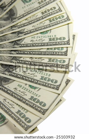 Bunch of one-hundred dollar bills (isolated on white) - stock photo