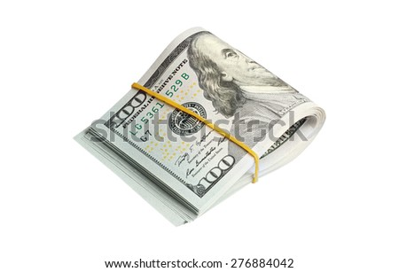 Bunch of one hundred dollars banknotes isolated on white background with clipping path - stock photo