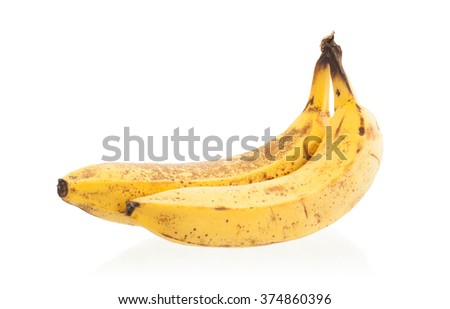 Bunch of over ripe bananas, isolated on white - stock photo