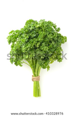 bunch of parsley on white background - stock photo