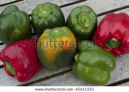 Bunch of peppers on table