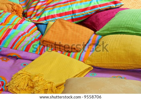 Bunch Pillows Colorful Sheets Over Bed Stock Photo 9558706 ...