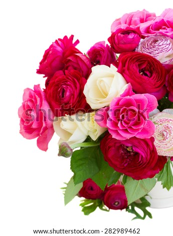 bunch of pink  ranunculus and rose flowers in pot close up isolated on white background - stock photo