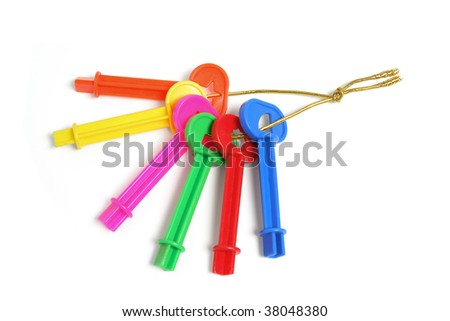 Bunch of Plastic Keys on White Background