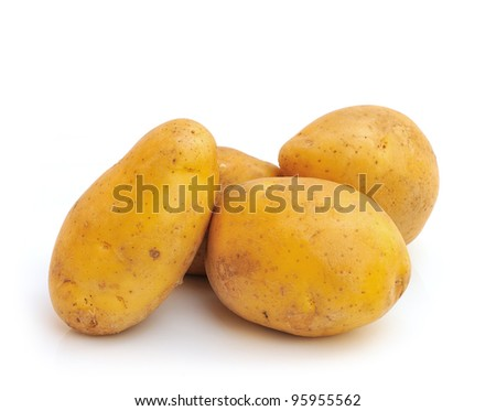 bunch of potatoes on white background