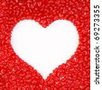 bunch of red candy hearts in the form of a large heart. isolated on white. with clipping path. - stock photo