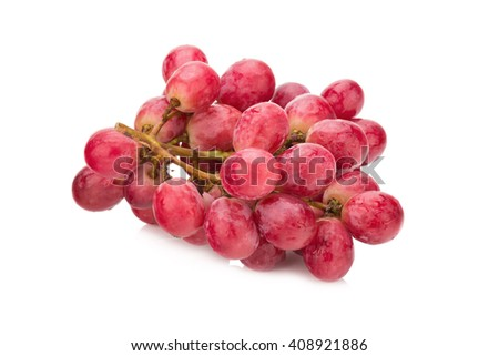 Bunch of red grapes Isolated on white background. - stock photo