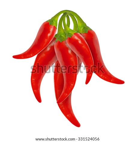 Bunch of red hot chili peppers isolated on white