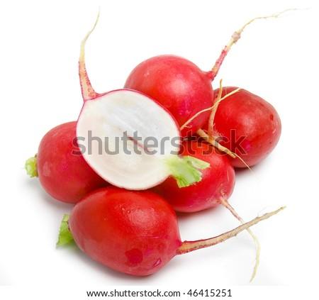 bunch of red ripe radish - stock photo