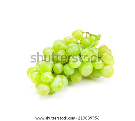 Bunch of ripe and juicy green grapes on a white background  - stock photo