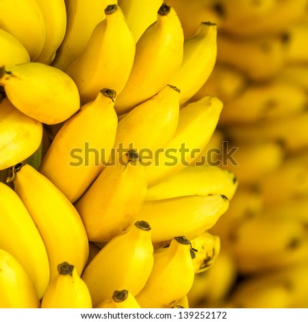 Bunch of ripe bananas background - stock photo