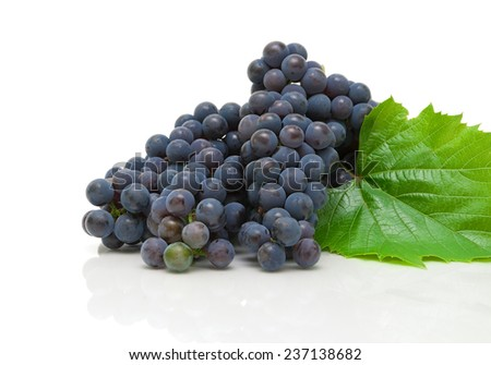 bunch of ripe grapes closeup on white background with reflection. horizontal photo. - stock photo