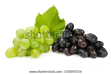 bunch of ripe green and red grapes isolated on white - stock photo