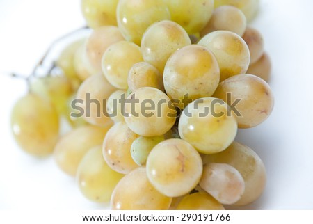 Bunch of ripe tasty sweet green grapes. Top view - stock photo