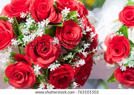 Bunch of rose. Flower and floral concept. Valentines day celebrating and Wedding and graduated theme. Red rose and white Gypsophila in wedding event