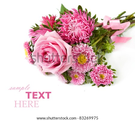Bunch of roses and asters isolated on white with sample text - stock photo
