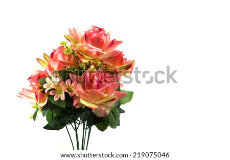 Bunch of roses isolated on white - stock photo