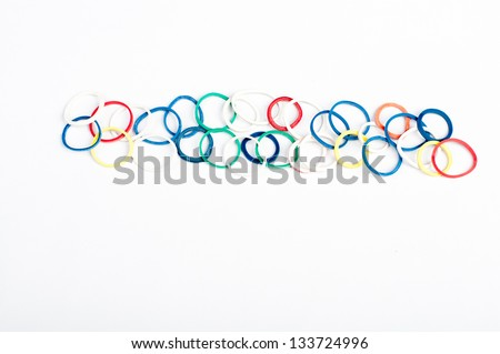 bunch of rubber bands - stock photo