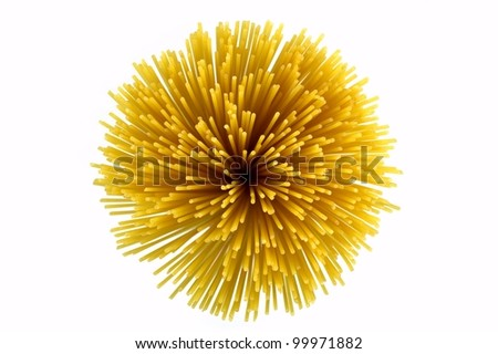 Bunch of spaghetti a top view on white background - stock photo