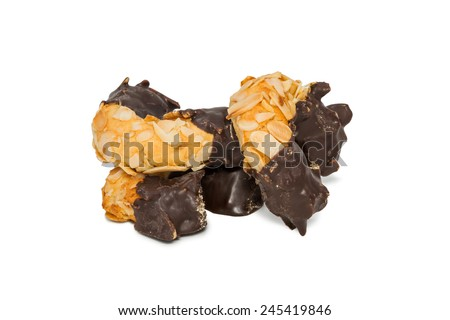 Bunch of tasty rectangular cookie half filled with chocolate half filled with nuts isolated on white background - stock photo
