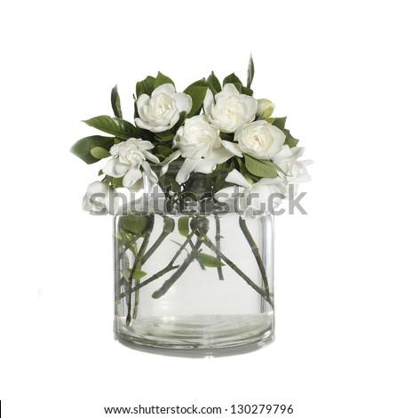 bunch of White Gardenia Blossom in glass vase - stock photo