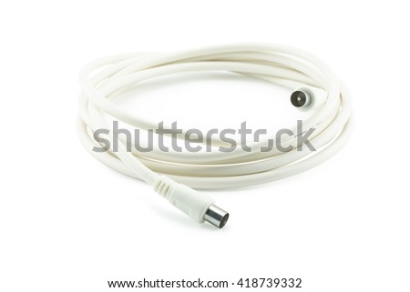Bunch of white TV coaxial cables with connectors on white background.