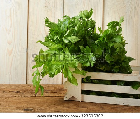 bunches of fresh celery on a wooden bench