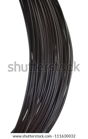 Bundle of black cables isolated on white background - stock photo