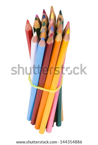 Bundle of colored pencils tied with an elastic band - stock photo