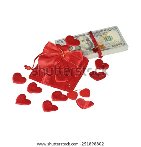 Bundle of dollars in red pouch with red hearts and red bow knot isolated - stock photo
