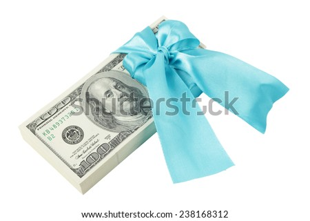Bundle of dollars in the blue ribbon as a gift - stock photo